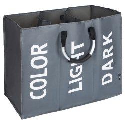 DEKLIN Szövet szennyeskosár, szürke/ezüst/fehér