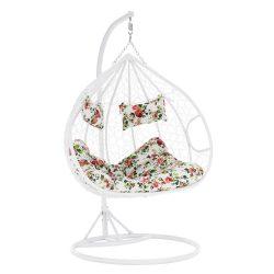 DALVEA NEW Függő dupla fotel, fehér/minta virág