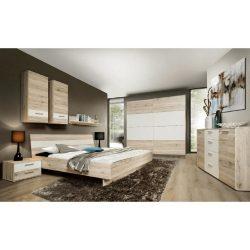 VALERIA Hálószoba, szekrény+ágy+2db éjjeliszekrény, homok tölgyfa/fehér