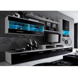 LEO Nappali sor LED világítással, fehér/fekete- extra magas fényű HG
