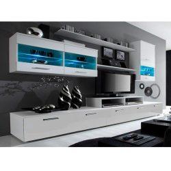 LEO Nappali sor LED világítással, fehér/fehér- extra magas fényű HG