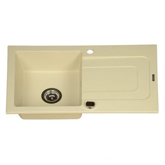 FUNK Vanília-Pezsgő színű, 1 medencés + csepegtetős gránit mosogató, 760 x 440 mm